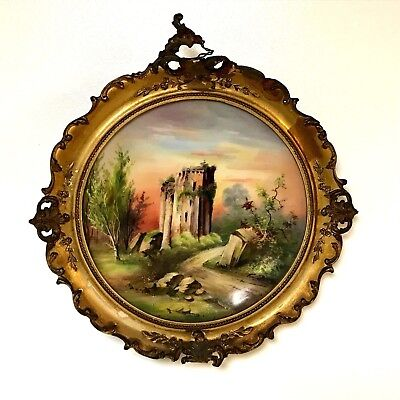 Antique 19th Century Limoges Hand Painted Plate in Antique Frame