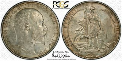 Great Britain, 1904 Edward VII Florin, 2 Shillings. PCGS - 58. 2,770,000 Mintage