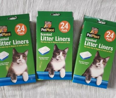 72 Quality Scented Fragranced Cat Litter Tray Liners Disposable Bags Sheets