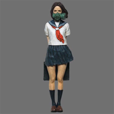 1:35 Resin Figure Model Girl Stuent With Mask Character Unpainted Unassembled