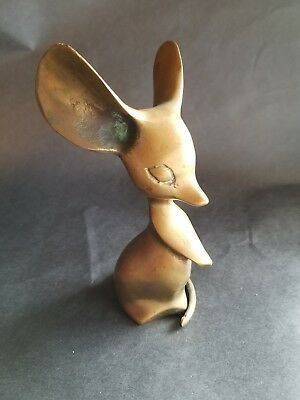"""Vintage Cute Brass Standing Mouse Figurine / Statue 5.25"""" H"""