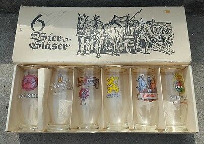 Set of 6 Vintage Adv. Bier Glaser, Beer Glasses NCO Club Hahn Air Base, Holsten