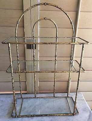 Vintage Hollywood Regency Faux Bamboo Wall Display 3 Shelf Unit Gilt Metal