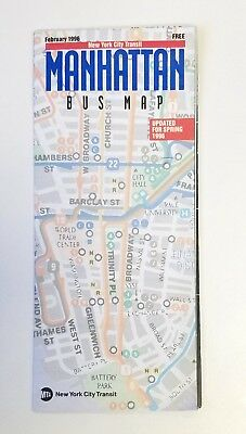VINTAGE NEW York City NYC MTA Manhattan Bus Map 1996 250 PicClick