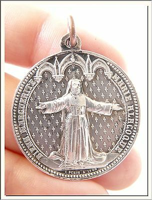 ANTIQUE 1900's SACRED HEART of JESUS & BEAT MARY ALACOQUE FRENCH MEDAL by PENIN