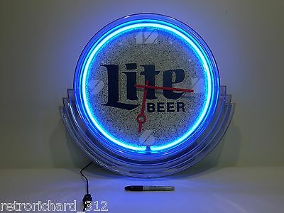RARE Vtg RETRO 80s MILLER LITE Beer Neon Large Wall Clock USA Bar Mancave Art