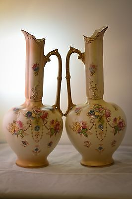 Antique Ewer Form Vases Matching by Devon War S.F. & Co. England Amazing