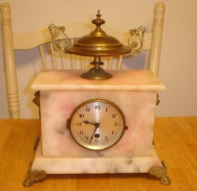Antique Ornate Victorian French Marble & Brass Mantel Clock w/ Finial (Running)