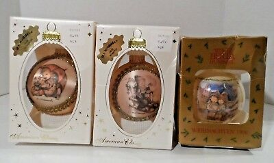 Lot of 3 Hummel Goebel Christmas Ball Ornaments 1998/2000 (Winter/Girl/Holiday)