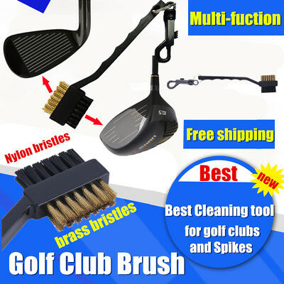 Black Dual Bristles Golf Club Groove Ball Cleaning Brush Cleaner&Snap Clip UI