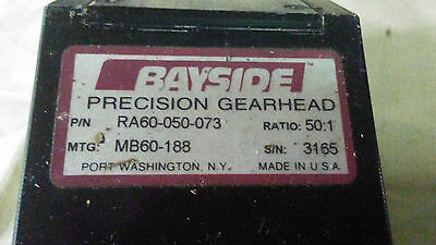 Bayside Precision Right Angle Gearhead Ra60-050-073 S/n 3165  50:1 Complete