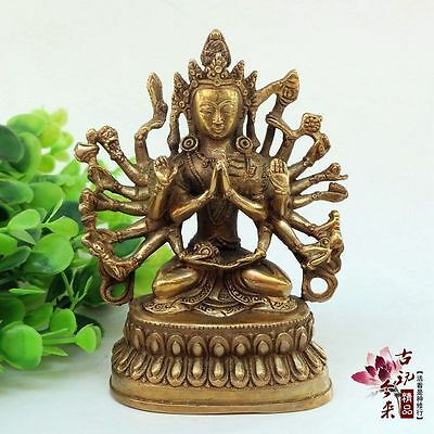China Exquisite Old Handwork Brass Thousands Hands Guanyin statue