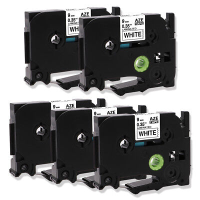 5PK TZe-221 Compatible for Brother P-Touch Laminated Label Tapes Black/White 9mm