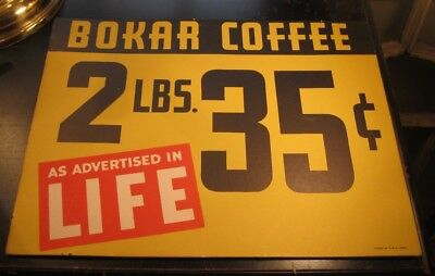 Vintage Bokar coffee paper advertisement sign supermarkets grocery hip mancave