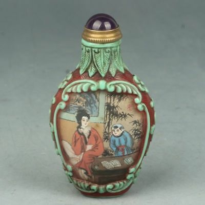 Chinese Exquisite Handmade the ancients pattern Glass snuff bottle