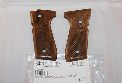 Beretta 92/96 92FS F M9 Checkered Walnut Factory TRIDENT IN OVAL Grips E4