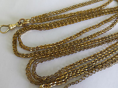 Victorian Gold Filled Paper Clip or Bookchain Long Guard Muff Pocket Watch Chain