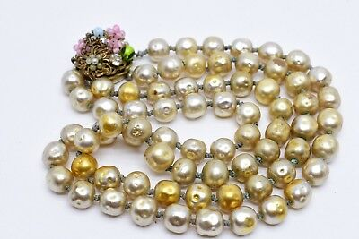 Vintage Miriam Haskell 2 Strand 7mm Baroque Pearl Necklace Pink Green Flower