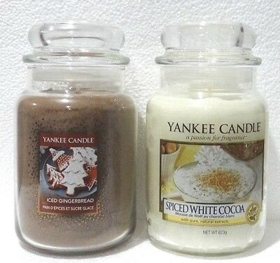 NEW Yankee Candle 2 Large Jars 22 oz ICED GINGERBREAD & SPICED WHITE COCOA