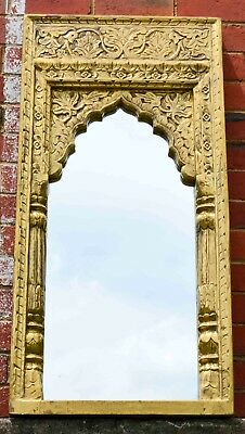 East Connection Indian Moroccan Vintage Antique Brass Metal Fitted Mehrab Mirror