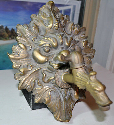 Art Deco old Fountain Lion head Bronze handsome Faucet for fountain a Lion Head