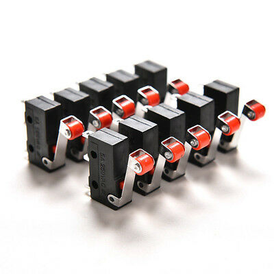 10Pcs Micro Roller Lever Arm Open Close Limit Switch KW12-3 PCB Microswitch ^