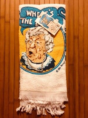 Where's the Beef Dish Towel (Vintage, 1984) Clara Peller, Wendy's, New, Tags