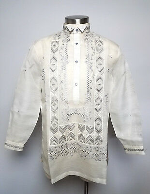 Barong Tagalog Men Size L Large Pina-Jusi Biege Gray Philippine Dress Shirt