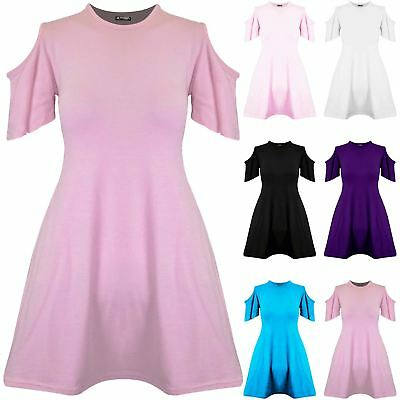 Girls Kids Childrens Short Sleeve Flared Cold Cut Out Shoulder Swing Mini Dress