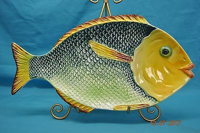 """Neto & Gomes Made in Portugal 18"""" Large Fish Platter Yellow & Green"""