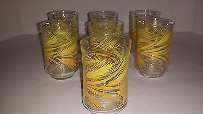 Set of 7 Libbey Golden Wheat Glass -6 oz Juice Tumblers
