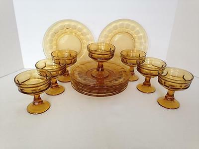 "Vintage Georgian Amber Glass Compote Sherbets Libbey (7) Dessert Plates 9"" (7)"