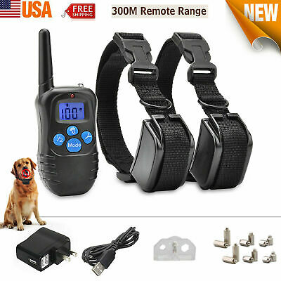 Rechargeable Dog Shock Training Collar Anti-Bark Remote E-Collar For S M L Dogs