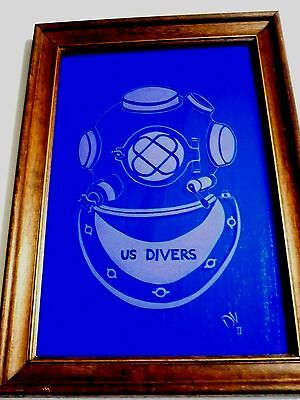 Large FRAMED vintage US DIVERS MARK V helmet ETCHED on wavy cobalt blue GLASS Ex