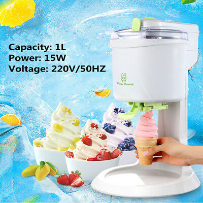 220V 1L Automatic Homemake Soft Ice Cream Cones Maker Machine Kids Party Supply