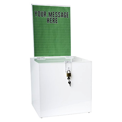Donation Box Storage with Lock and Sign Holder Clear Acrylic Ad  SBB 1010 H WHT