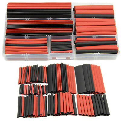 150 Pieces Red and Black 2:1 Tubing Heatshrink Tube Sleeving Wrap Wire Kit Cable