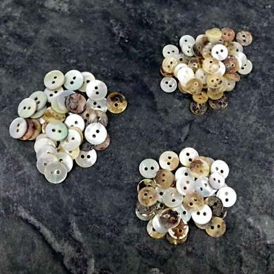 50 x Mother of Pearl buttons Ivory / Neutral mix 8/9/10/11mm Craft Scrapbook B57