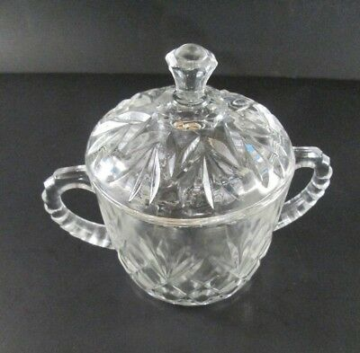 Vintage Clear Glass Sugar Bowl with Lid Pineapple Pattern EAPC