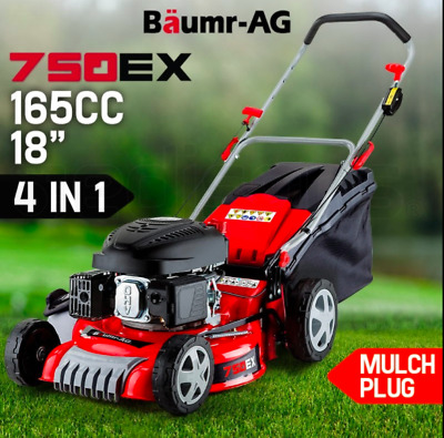 "18"" Push Petrol Lawn Mower 60L catcher 165cc 6HP OHV 4 stroke Recoil Pull Start"