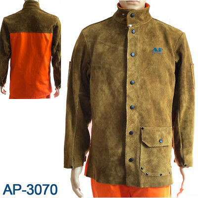 AP-3070 Golden Brown Cowhide Leather Welding Jacket w/Fire Retardant Sateen Back