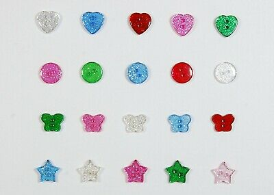 Glitter Buttons - Various Shapes and Colours - Bags Assorted 13mm 14mm 15mm 19mm
