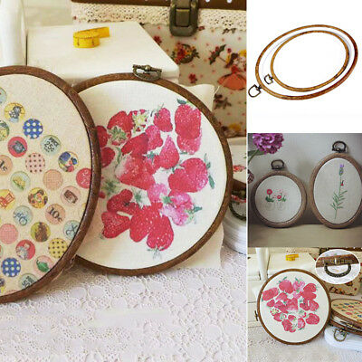 Round Oval Wooden Cross Stitch Ring Embroidery Hoop Wood Frame Sewing Craft