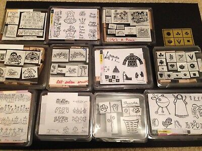 Lot of 11 Stampin' Up! Rubber stamp sets plus one coordinating Brass Template