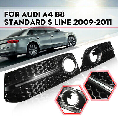 For 09-11 VW Audi A4 B8 Glossy Black Bumper S Line Fog Light Grill Grille Cover