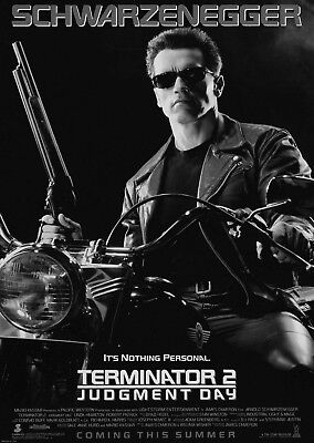 Terminator 2 Judgement Day Movie Poster Art Print Black & White Card or Canvas