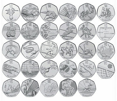 Rare Commemorative 50p Coins All Olympics inc Triathlon Judo Football Wrestling