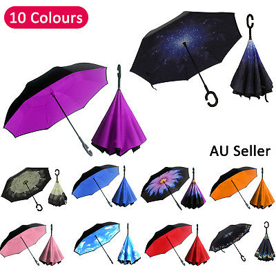 Windproof Upside Down Reverse Umbrella C-Handle Double Layer Inside-Out Inverted
