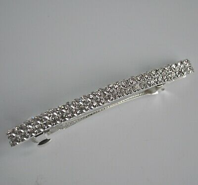 Clear crystal/diamante row thin rectangle silver wedding hair clip/barrette. UK