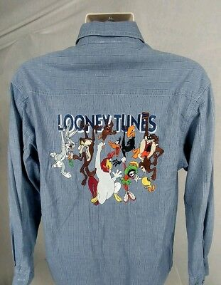 LOONEY TUNES Characters Button Front Shirt Embroidered Sm Bugs Bunny Taz Tweety